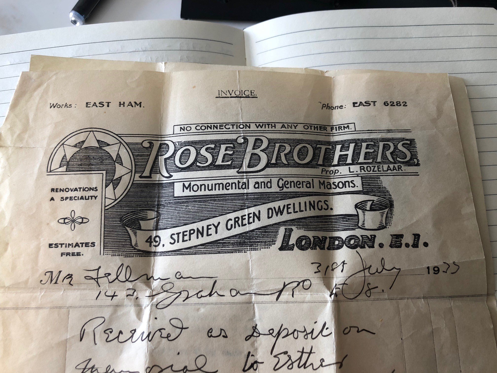 New information from an invoice dated 1933